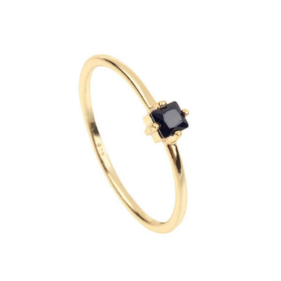 58eecf1a1f71b US $6.29 10% OFF|Black stone Engagement ring Minimalist Gold Stacking  Dainty SINGLE stone simple jewelry 925 silver ring-in Engagement Rings from  ...