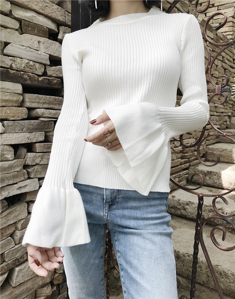 Big Ruffle Flare Sleeve Women Sweater Thin Black White Petite Slim ...