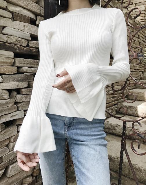 Big Ruffle Flare Sleeve Women Sweater Thin Black White Petite Slim ...
