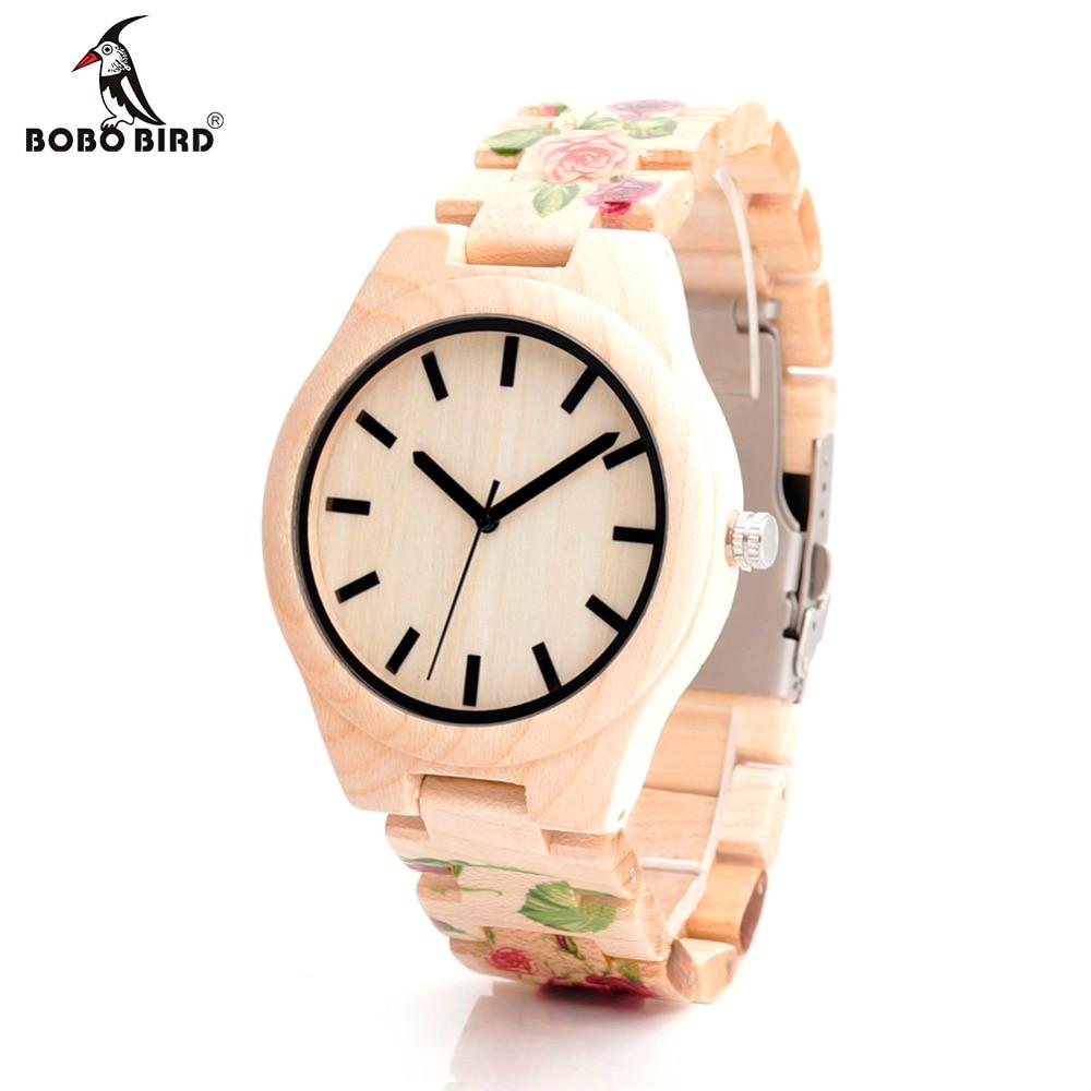 ФОТО BOBO BIRD Wood Watch With UV Printing Flower Wooden Band Mens Women's Quartz Watches Japanese Miyota 2035 Movement Wristwatches