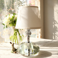 TUDA 20X35cm Free Shipping Luxury K9 Crystal Table Lamp White Fabric Lampshade Table Lamp Modern Elegant Design Table Lamp E27