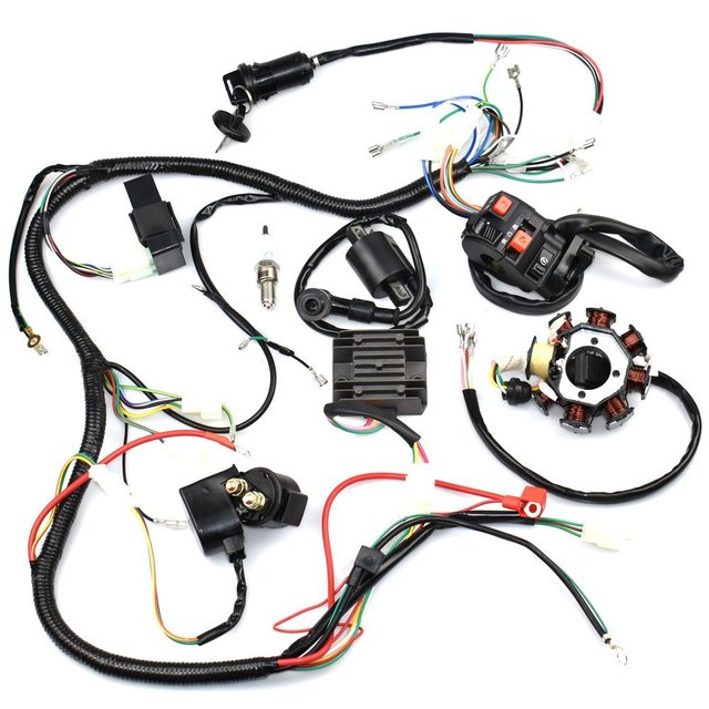 complete wiring harness kit wire loom electrics stator coil cdi for atv quad  4 four wheelers 150cc 200cc 250cc go kart dirt pit