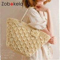 BVLRIGA Summer Style Womens Straw Weave Woven Shoulder Tote Shopping Beach Bag Purse Handbag Straw Beach