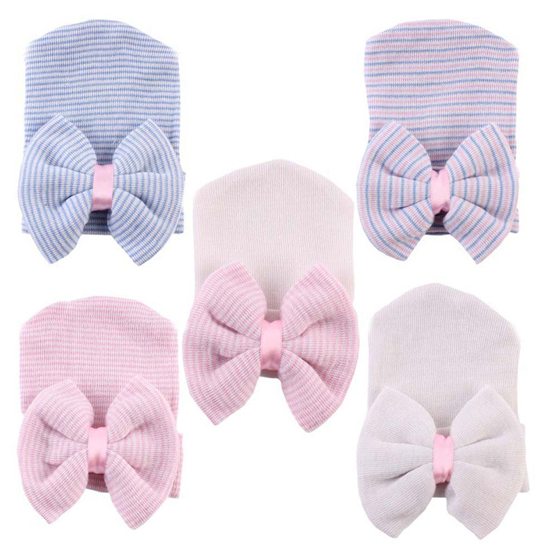 Spring Crochet Baby Hat Newborn Bowknot Beanies Baby Girls Cotton Knitted Caps Infant Toddler Floral Striped Hat Accessories D35
