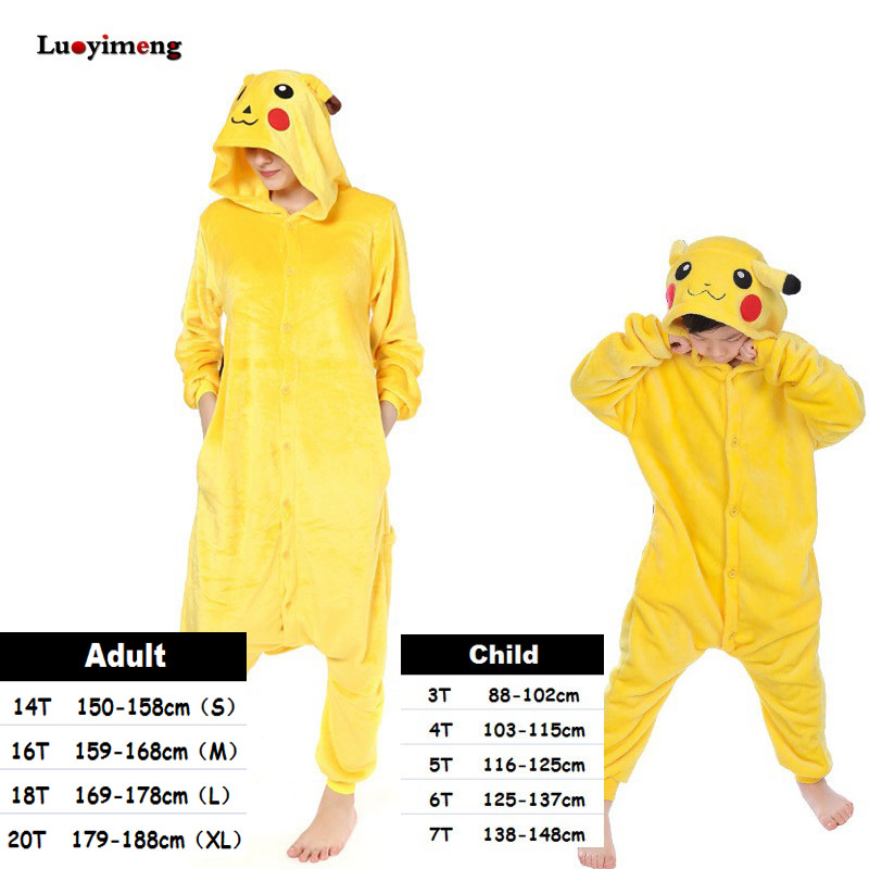 Kids Kigurumi Unicorn Pajamas Set Winter Hooded Animal Pikachu Pyjamas Boys Girls Sleepwear Women Onesie Licorne Panda Costumes title=