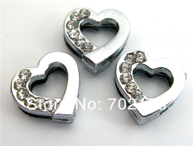 DIY charms 100pcs 8mm half Rhinestone Heart slide Charms Fit 8mm Pet Collars wristbands