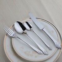 جودة 24 قطع السكاكين مجموعة الفضة زهرة الأوروبية الكلاسيكية أواني الغذاء الصف المقاوم للصدأ المعدن خمر الجدول setting
