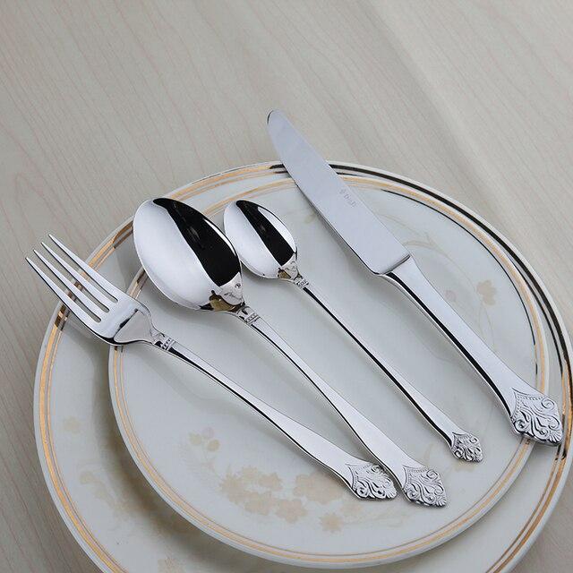 Качество 24 шт. набор столовых приборов Серебряный цветок европейские классические Столовая посуда набор Еда Класс Нержавеющая сталь Винтаж металла сервировки стола