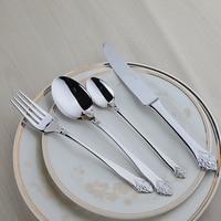 Decent Quality Western Style Stainless Steel Silver Flower Engraving 24pcs Lot Cutlery Set Elegant Design Dinnerware