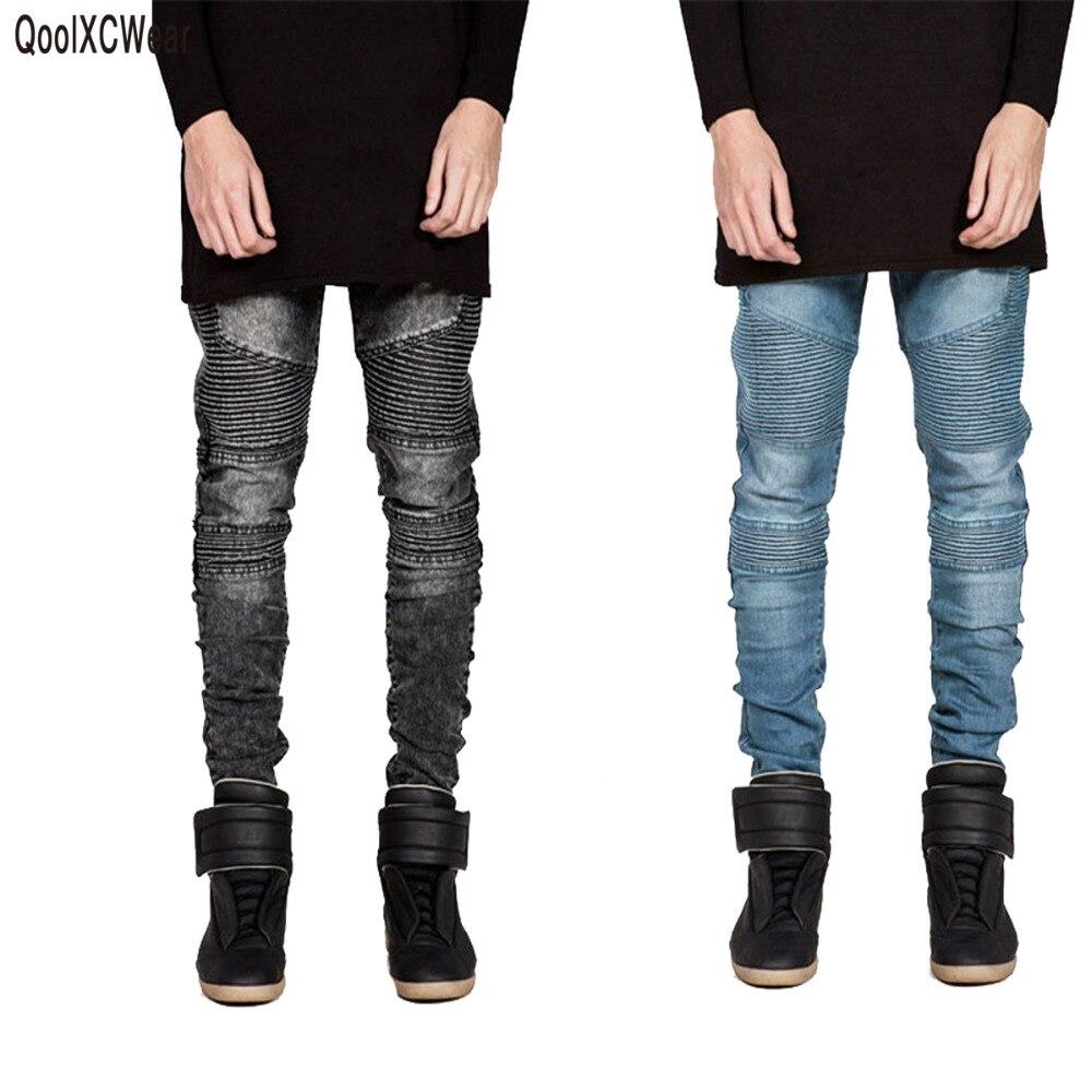 Mens Skinny jeans men 2015 Runway Distressed slim elastic jeans denim Biker jeans hiphop pants Washed black jeans for men blue number