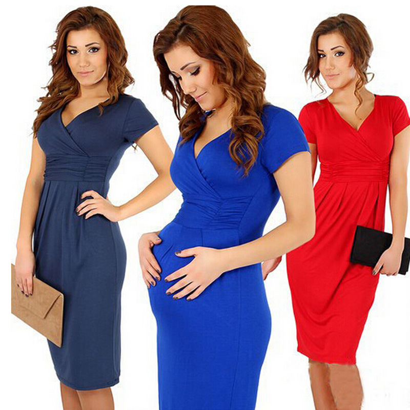 Summer Fashion Maternity Dresses Clothes For Pregnant Women Clothing V-neck Short Sleeve ...