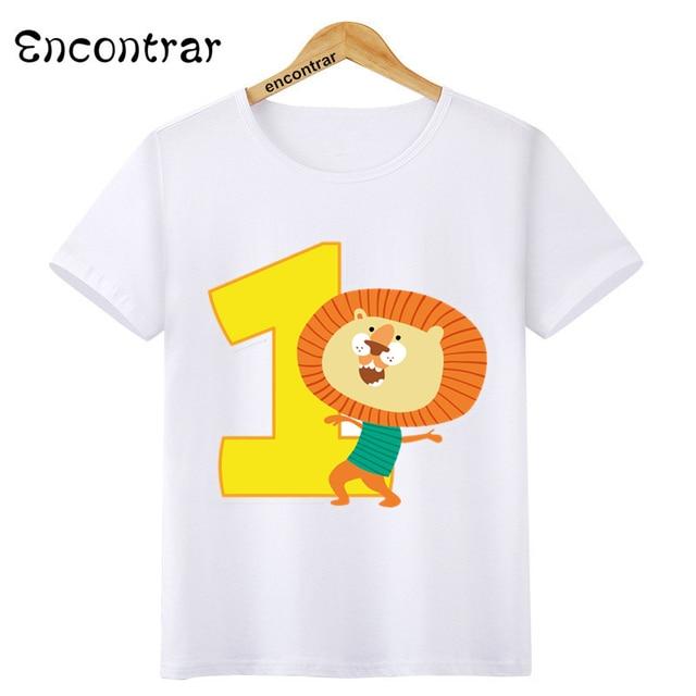 Birthday Number Bow 1~9 Cartoon Music Children T Shirt Designs Teen Kids  Animal Clothing For Boys Girls T-Shirts,HKP6061