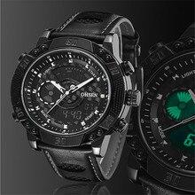 Top venta de hombre de cuero de lujo dual time ejército impermeable estilo de la moda digital de los deportes cronómetro relojes de pulsera unisex