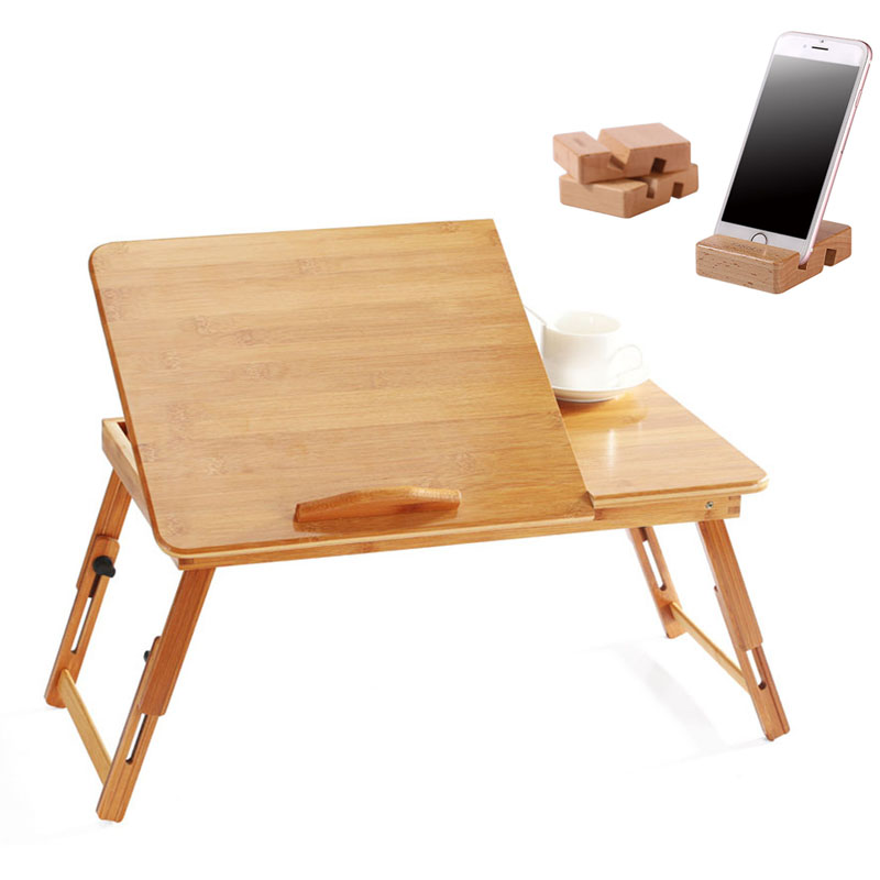 Portable Laptop Table Bamboo Laptop Desk With Cooling Fan Adjustable Bed Table Computer Desk Sofa