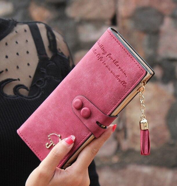 2b201f2a4444 2019 Vintage Women Wallets Matte PU Leather Ladies Handbags Hasp Tassel  Zipper Brand Clutch Coin Purse