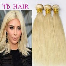 7A 613 Blonde Brazilian Virgin hair Straight 3 Bundles Cheap Human Hair Weave Bundles Blonde Brazilian Hair Extension