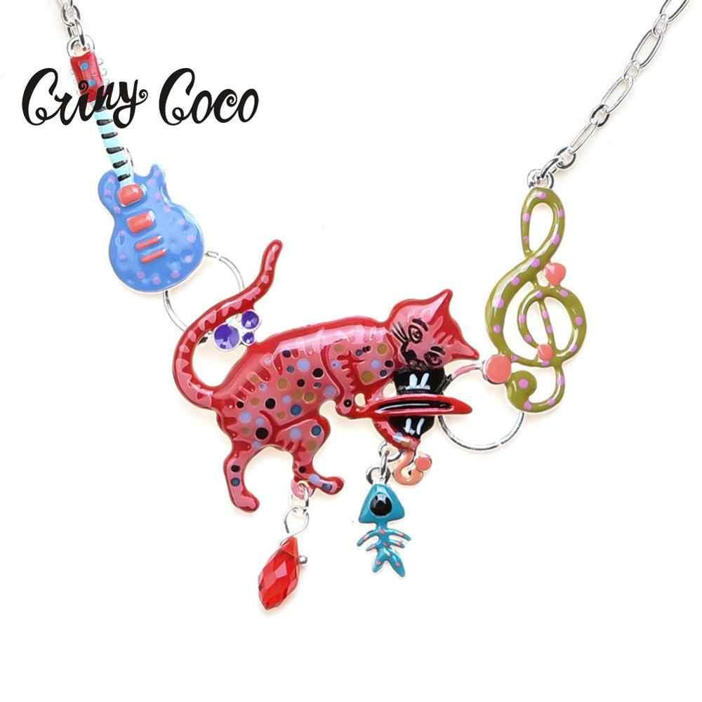 Cring Coco Renkli Tappy Kedi Gerdanlık Kızlar için Parti düğün takısı Nota Gitar Kolye Kolye Zincir Kolye Kadın