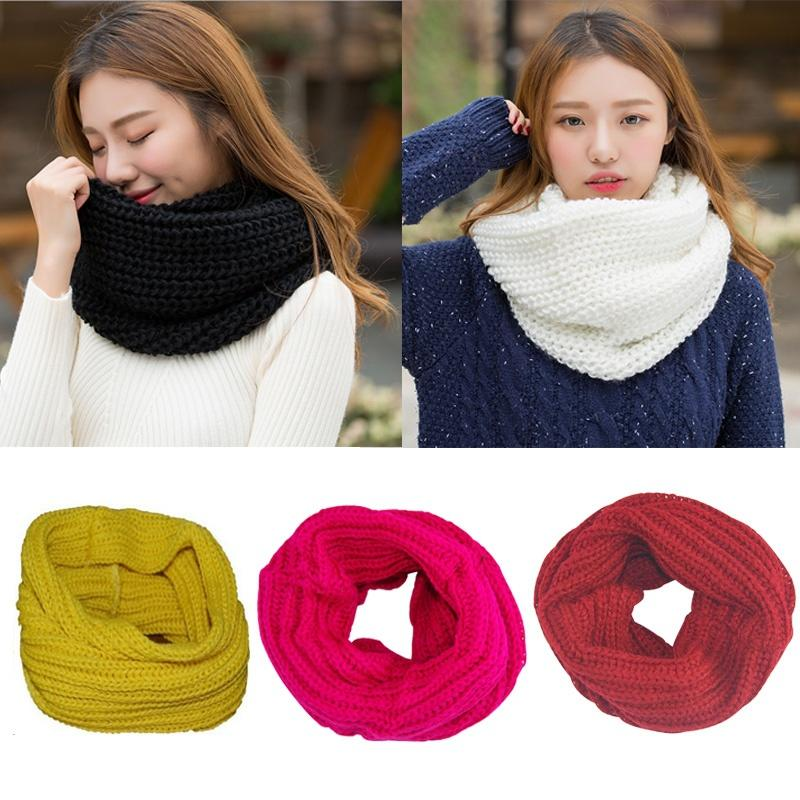 Men Women Winter Warm Circle Cable Knit Wool Neck Scarf Snood Ring Wrap