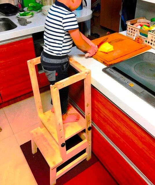Dzieci Uczenia Dzieci Regulowane Drewniane Kuchnia Pomocnika