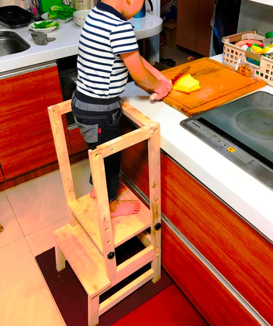 KINDER KINDER Einstellbar Holz Küche Helfer Bad Hocker Lernen Stuhl ...
