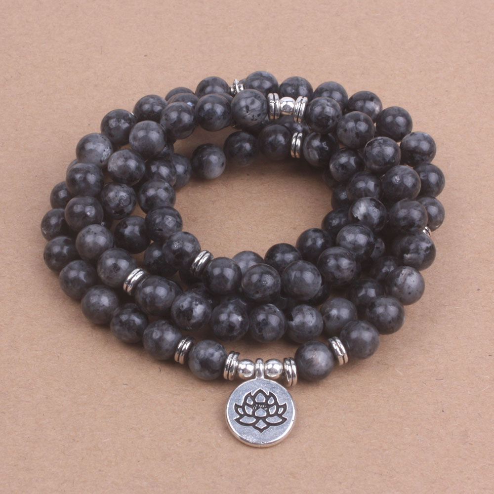 108 Bead Labradorite Mala Necklace (Buddha, Lotus, or OM)