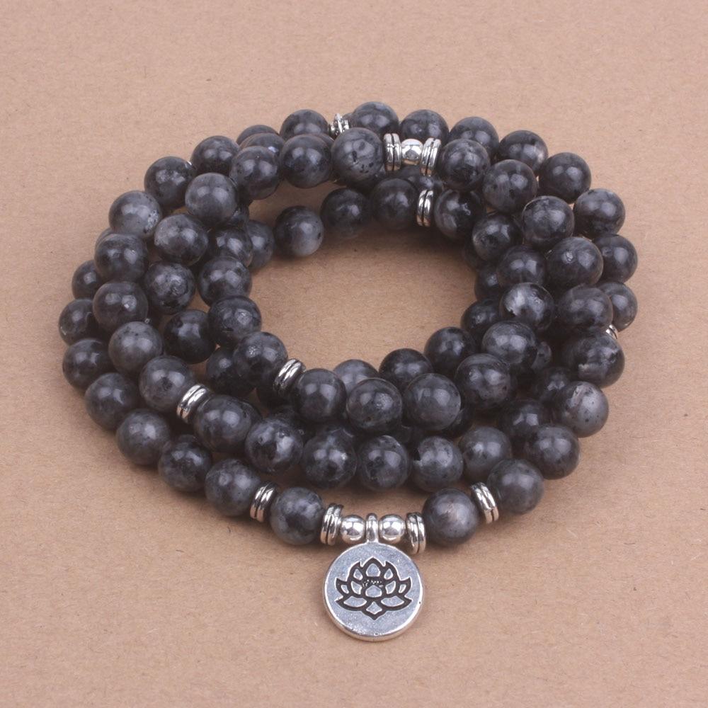 108 mala Labradorite with Lotus OM Buddha Charm Yoga Bracelet or Necklace Natural stone jewelry dropshipping все цены