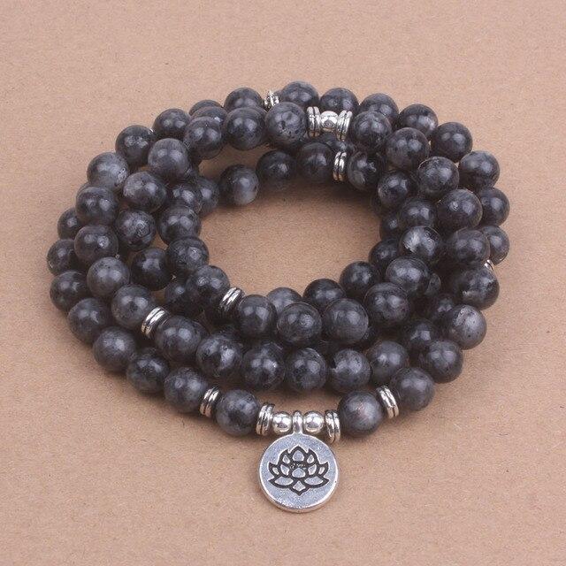 108 Mala Labradorite Lotus Bracelet