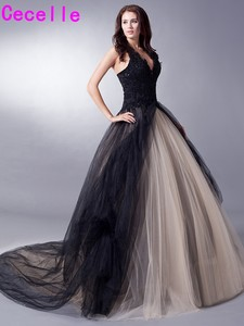 Image 4 - Black Nude Colorful Tulle Gothic Wedding Dresses With Color Non White Halter Bridal Gowns Non Traditional Robe De Mariee Real