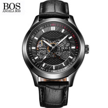 ANGELA BOS Black Luminous Waterproof Mechanical Wristwatches Military Automatic Watch Mens Leather Clock Watches Montre Homme