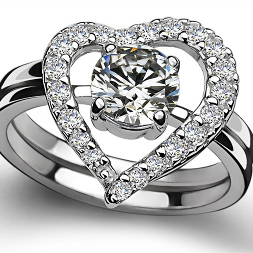 70a5409857c33 Perfect Match Rings Set Solid 14K White Gold Heart Pattern Paved Around  0.5CT Solitaire Engagement Ring Love Wedding Band AU585
