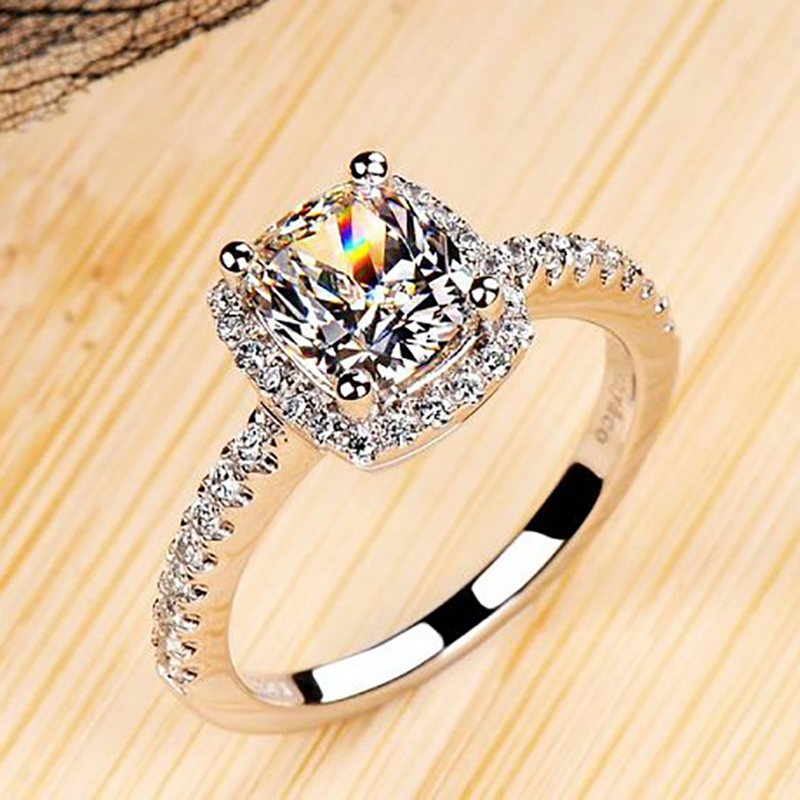 cushion 2 carat imitation diamonds engagement ring princess cut halo wedding rings for women aaa grade cubic zirconia in rings from jewelry accessories on - Wedding Ring Princess Cut
