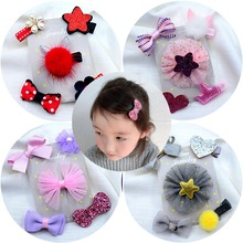 Fashion 5PCS/Pack Cartoon Bow Girls Cute Hairpins Handmade  Barrettes Hair Clips Headbands Kids Accessories