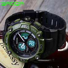 Sanda Luxury Brand Men Dual Display Sports Watches Digital LED Quartz Wristwatches Outdoor Casual Watch