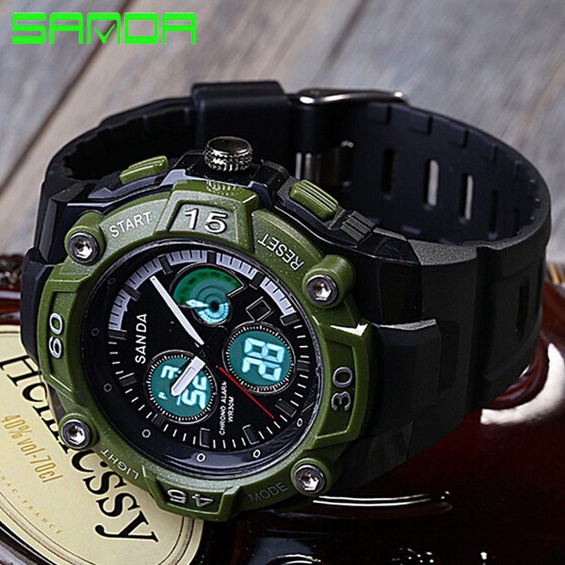 Sanda font b Luxury b font Brand Men Dual Display Sports Watches Digital LED Quartz Wristwatches
