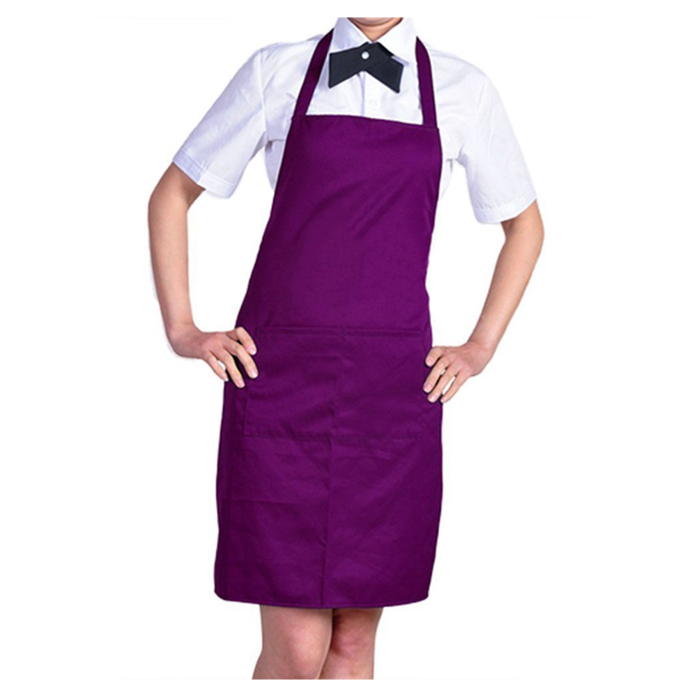 Plain white apron nz - Szs Hot Plain Apron With Front Pocket Kitchen Cooking Craft Baking Purple China Mainland