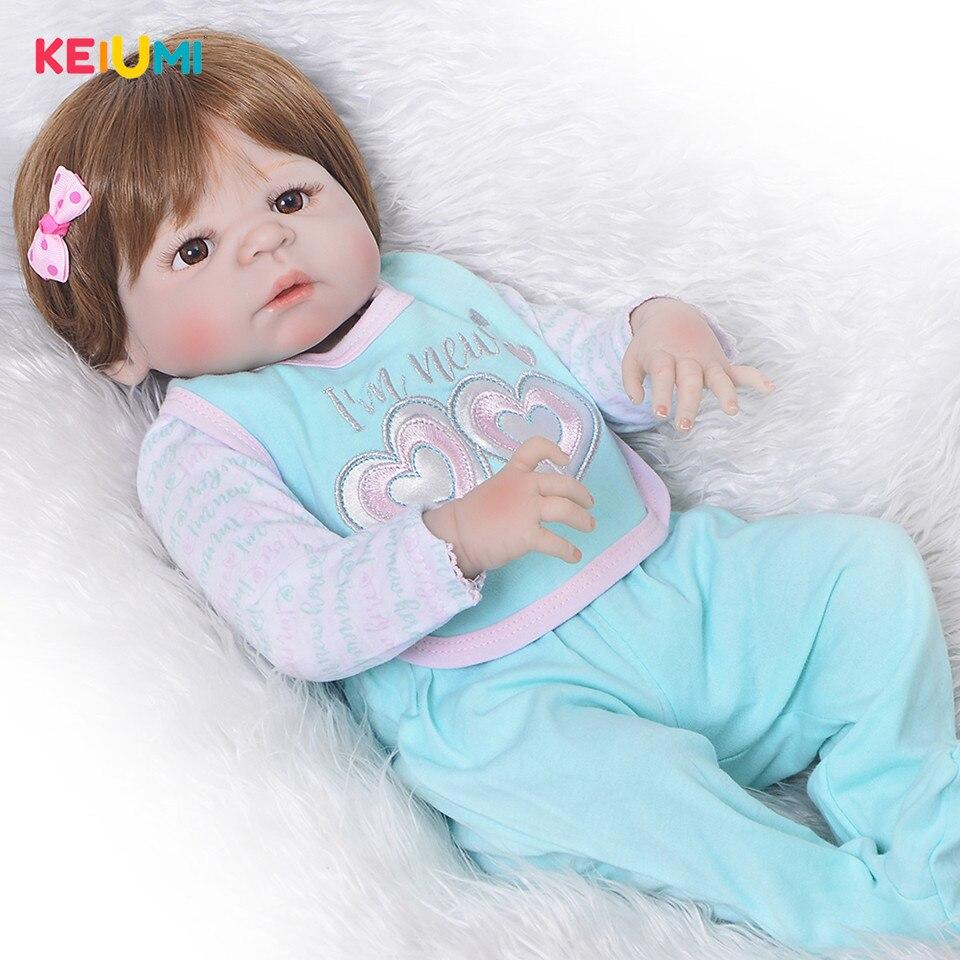 Realistico '57 cm Bebe Reborn Baby Girl Completa Del Corpo Del Silicone Bambole Reborn Realistica Bambini Compagno di Giochi Giocattoli Del Bambino Della Ragazza Di Natale regali