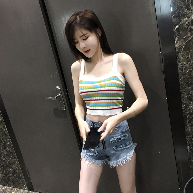 New Summer Colorful Striped Women Tank Tops High Waist Knitted Slim Short Section Women Camis Rainbow Sexy Tank Tops