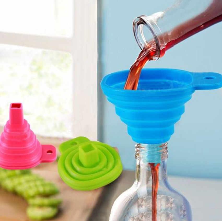 ครัวเครื่องมือDIYเกรดอาหารซิลิโคนพับช่องทางในครัวเรือนLiquid Dispensingช่องทางขนาดเล็กสีสุ่ม