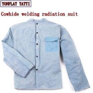 Costume de peau de vache vêtements de soudage Tig Mig Mag radioprotection résistant à l'usure salopette d'isolation pour les ouvriers Costume de soudage