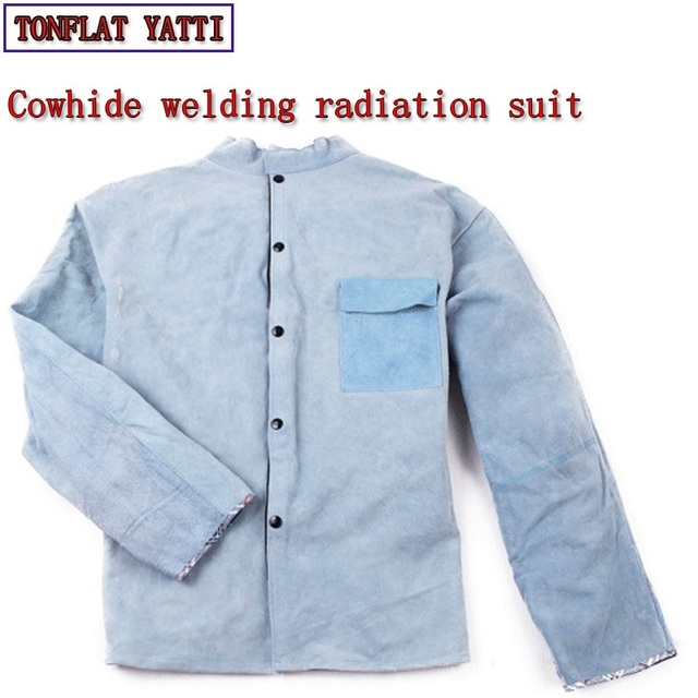 Cowhide suit welding clothes tig MIG MAG Radiation protection Wear resistant Insulation  overalls for workmen Welding costume