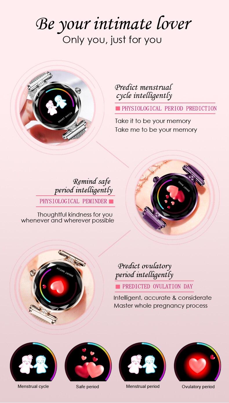H1 Moda para mujer Smartwatch Dispositivo portátil Bluetooth Podómetro Monitor de ritmo cardíaco Reloj inteligente para AndroidIOS Pulsera inteligente (5)