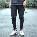 Мода байкер jogger брюки тонкий пуш-ап хип-хоп улица высокое качество мотоцикл повседневная конические брюки брюки