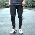 Fashion biker jogger pants slim push-up hip-hop street high quality motorcycle casual taper pants trousers