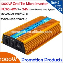 FREE Shipping!!1000W 24V Grid tie micro inverter, DC20V~40V, AC90V-140V or 190V-260V  for 1200W 24V Solar panel and Wind Power !
