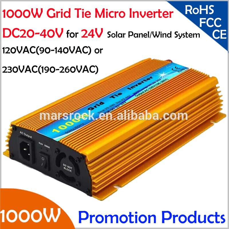 Бесплатная доставка! 1000 Вт 24 В Сетка tie micro Инвертор, DC20V ~ 40 В, AC90V-140V или 190 В-260 В для 1200 Вт 24 В солнечные панели и ветра Мощность!