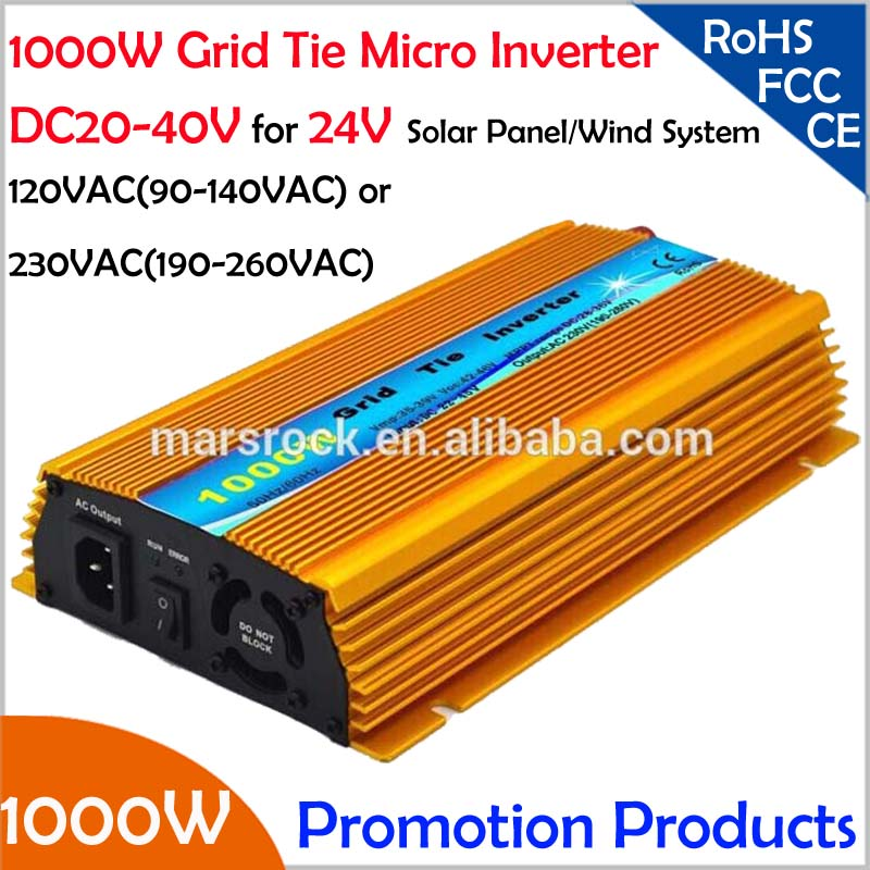 FREE Shipping!!1000W 24V Grid tie micro inverter, DC20V~40V, AC90V-140V or 190V-260V  for 1200W 24V Solar panel and Wind Power ! solar power on grid tie mini 300w inverter with mppt funciton dc 10 8 30v input to ac output no extra shipping fee