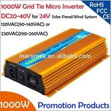 Бесплатная доставка! 1000 Вт 24 В связи микро-инвертор, Dc20v ~ 40 В, Ac90v-140v или 190 В — 260 В для 1200 Вт 24 В панели солнечных батарей и энергия ветра
