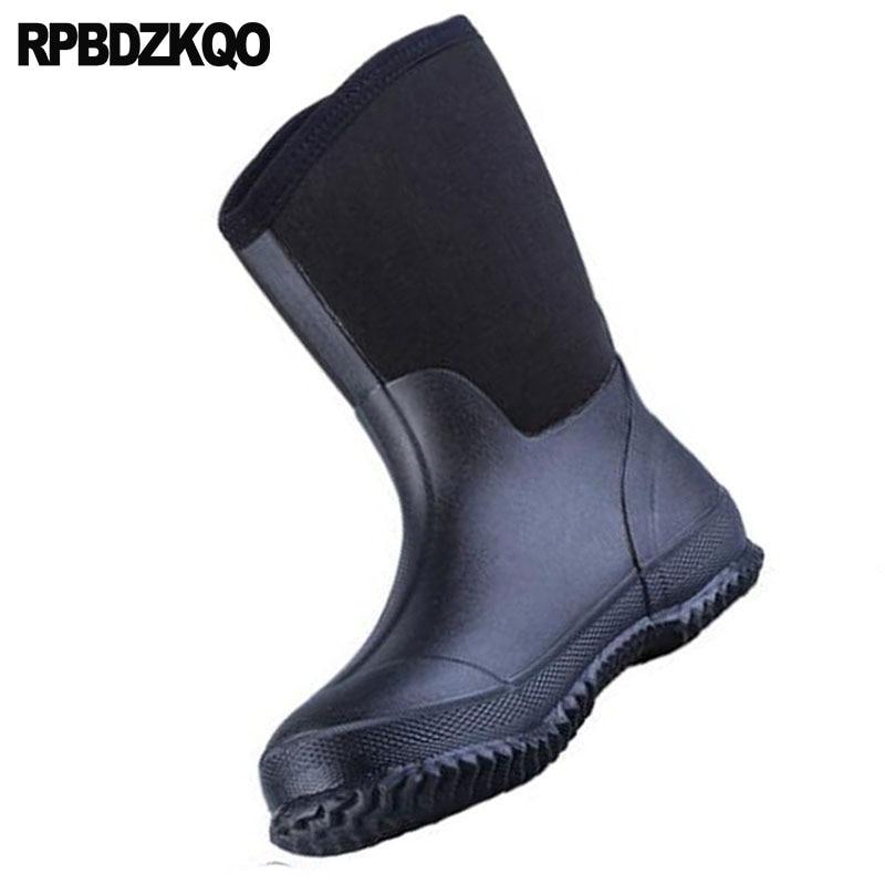 Botas Sobre Homens Pvc De Chuva Moda Preto Rainboots Queda Dos Impermeável Patchwork Bezerro Altas Plus Size 2018 Barato Deslizar Borracha Sapatos Meados xOwIFrqZPO