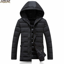 Trendy Hooded Middle Long Thicken Warm Parkas for Men 2016 Fall Winter Male Cotton Business Coat with Big Hood Plus Size M-3XL