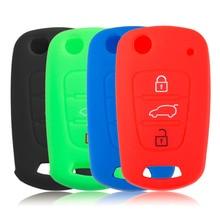 4 Color Silicone Key Cover Holder Shell fit for KIA RIO K2 K5 Sportage Sorento Flip Folding Remote Key Case 3 Button hot new #